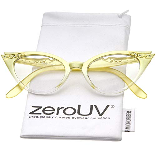 Women's Retro Rhinestone Embellished Clear Lens Cat Eye Glasses 51mm (Yellow/Clear)