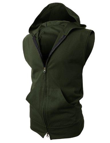 H2H Men's Lightweight Sleeveless Fashion Hoodies with Henley Neck-line