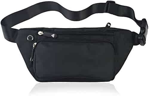 Black Fanny Pack for Men Women Waist Pack Bag Quick Release Buckle Water Resistant