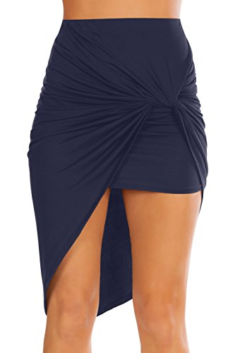 Drape Skirt Dress - Womens Drape Up Stretchy Asymmetrical High Low Short Mini Bodycon Pencil Skirt (Size Large, Navy)
