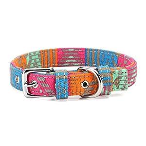 Petween – Collares clásicos básicos de cuero acolchado para mascotas, gatos, cachorros, perros medianos y pequeños