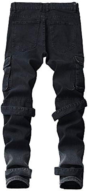 ZYUEER Męskiejeans, gerade, Taschen, Jeans, Distressed-Hose, Straight (Schwarz, 32): Sport & Freizeit
