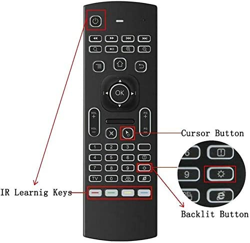 Calvas 2.4G MX3 Pro backlight Air Mouse keyboard Russian Voice 5 IR Learning for Android Smart TV Box Laptop PC Remote Control Color: English No Mic