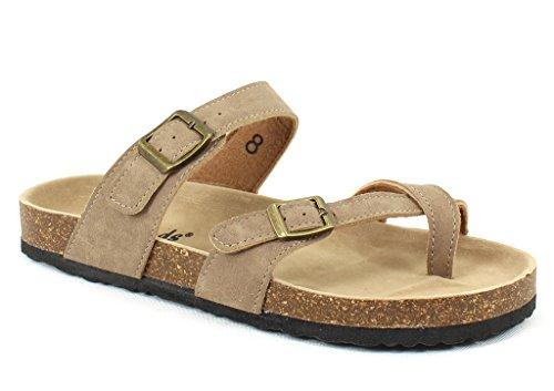Big Buckle Sandals - Outwoods Womens Bork-30 Vegan Leather Adjustable Strap Toe-Loop Buckle Flats Sandals (8 B(M) US, Taupe)