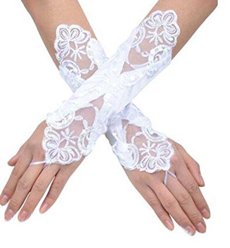 密度理想的弾薬venusvi花嫁ウェディングパーティー指なしパールレースサテンブライダル手袋(アイボリー)