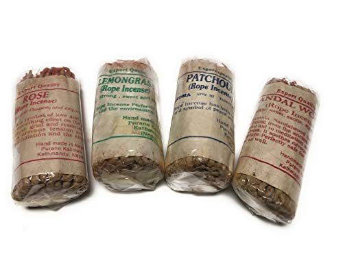 Arianna Willow Rope Incense Variety Kit Including Sandalwood, Lemongrass, Patchouli and Rose. ()