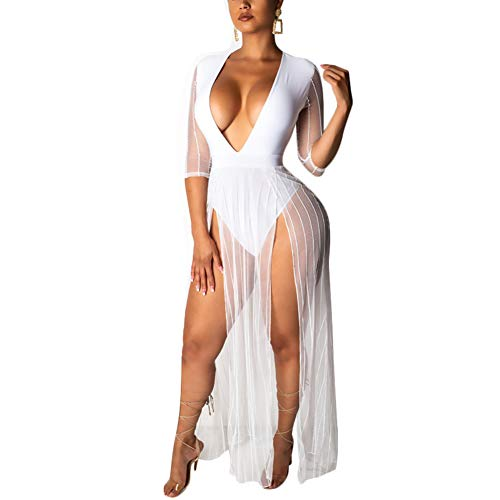 Womens Sexy Low Cut V Neck Bodycon Bodysuit Party Club Tulle Mesh Maxi Dress Long Rompers White XL