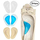 Dr. Foot's Arch Support Shoe Insoles for Flat Feet, Gel Arch Inserts for Plantar Fasciitis, Adhesive Arch Pad for Relieve Pressure and Feet Pain- 3 Pairs (Beige+Blue+ Clear)