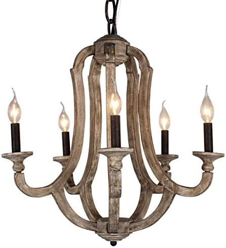 DOCHEER Cottage Vintage 5-Light Wood Metal Chandeliers 10137 Shabby Chic Wooden Chandelier Foyer Lighting for Home Decor Dining Room, Bedroom, Living Room, Kitchen Island, Bathrooms,Hallway