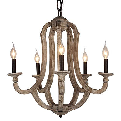 DOCHEER Cottage Vintage 5-Light Wood Metal Chandeliers Shabby Chic Chandelier Hanging Foyer Lighting for Home Decor Dining Room, Bedroom, Living Room,