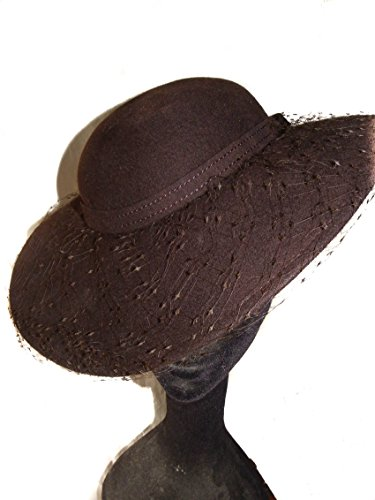 Wool Felt Fascinator In Chocolate Brown With Veil by Style Of Individuality