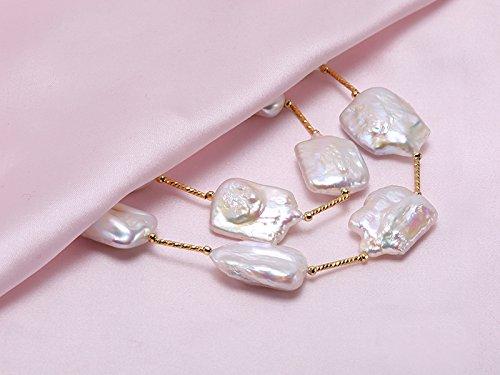 Jyx Blanc classique Baroque de culture d'eau douce Collier de perles 55,9cm