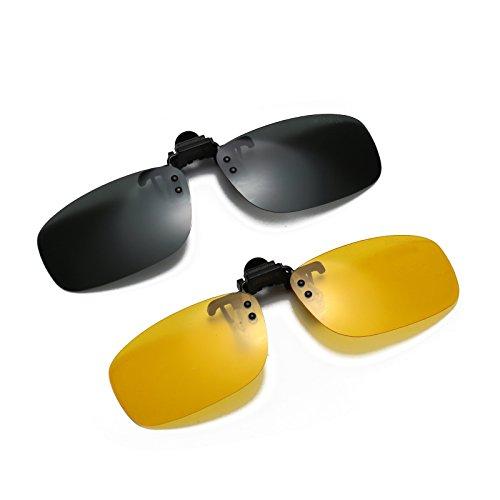 JESSIEDANTON Polarized Clip-on Flip Up Metal Clip Rimless Sunglasses, Lightweight, L Size, Set of 2 PCS (Green + Yellow) by CAXMAN