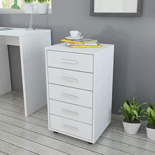 tidyard 5 Cajones de Oficina con Ruedas,Archivador Cajonera de Madera,Combina Perfectamente con Escritorio para Ordenador,33x38x63cm Blanco