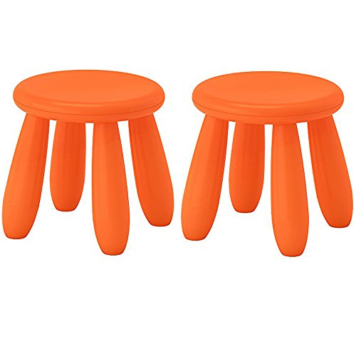 IKEA MAMMUT Children's Stool, indoor/outdoor, Orange(Pack of