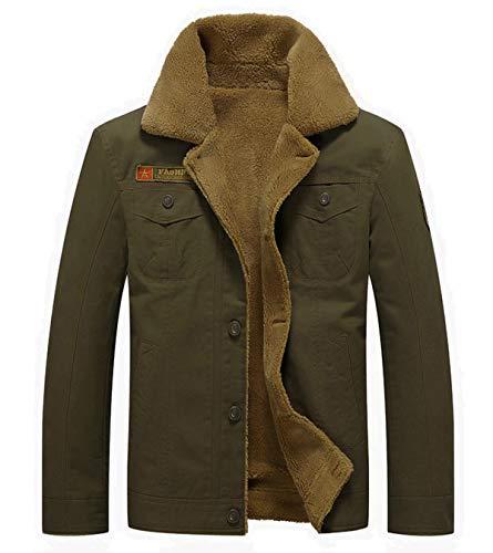 Fuwenni Men's Winter Jacket Sherpa Lined Fleece Jacket Fur Collar Warm Cowboy Coat Parka Army Green XL (Parka Coats For Men With Fur Collar)
