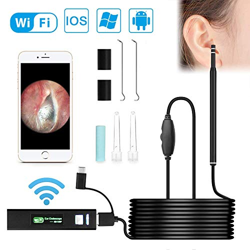 Wireless Otoscope, VTOSEN WiFi USB Ear Endoscope 1.3MP Digital Ear Otoscope Inspection Camera with 6 Adjustable LEDs, Earwax Clean Tool for Android & iPhone IOS, Tablet, Windows & Mac OS Computer