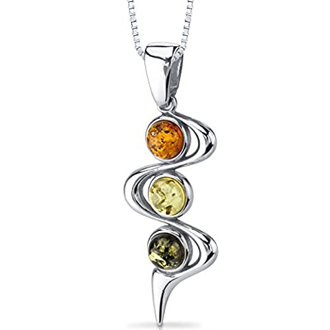 Three Stone Baltic Amber Pendant Necklace Sterling Silver Green Honey Cognac Colors (Baltic Amber Olive Necklace)