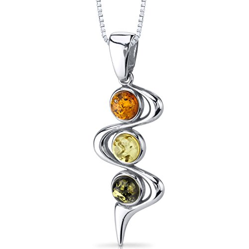 Three Stone Baltic Amber Pendant Necklace Sterling Silver Green Honey Cognac ()