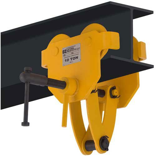 OZ Lifting OZ10BTC Beam Trolley with Clamp 10 Ton - Capacity Ton Beam Clamp