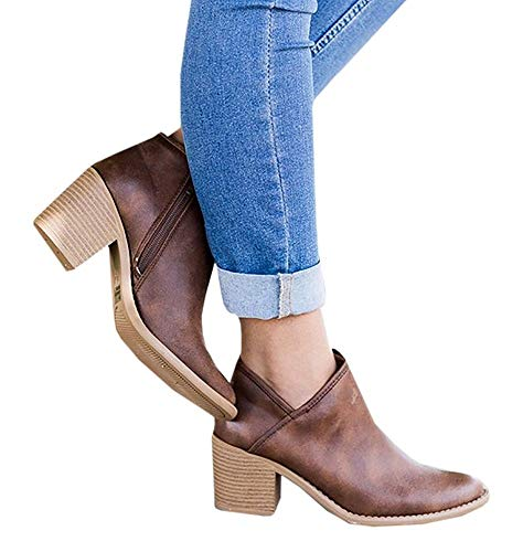 Chelsea Boots Women Block Heel Ankle Leather Winter Lace Flat Low Ladies Casual Comfortable Chunky 5cm Heeled Shoes Beige Blue Black Grey 35-43 Brown