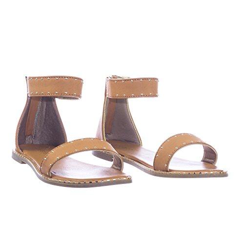 Sandalo Piatto Di Bambù Con Cinturino Alla Caviglia, Cinturino Alla Caviglia, Rivetti In Metallo Lungo La Passamaneria Di Bambù Vintage
