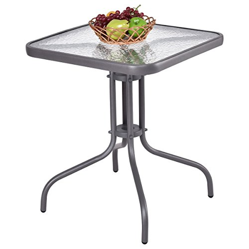 Custpromo 24″ Outdoor Dining Square Table Patio Bistro Table Tempered Glass Top Gray Steel Frame Garden Backyard Furniture For Sale