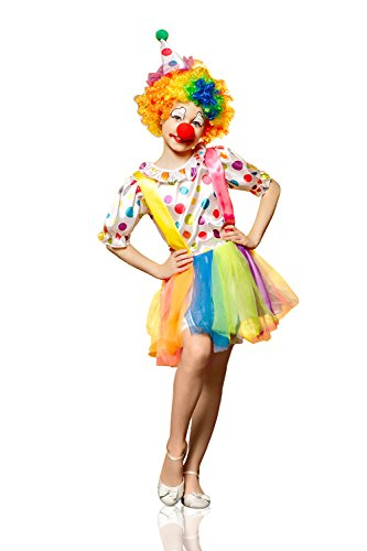 Circus Acrobat Halloween Costume (Kids Girls Funny Clown Halloween Costume Big Top Circus Star Dress Up & Role Play (6-8 years, yellow))
