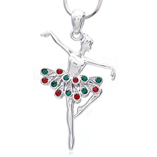 Christmas Gift Dancing Ballerina Dancer Ballet Dance Pendant Necklace Charm (Silver-tone Red/Green) (Tone Ballerina)
