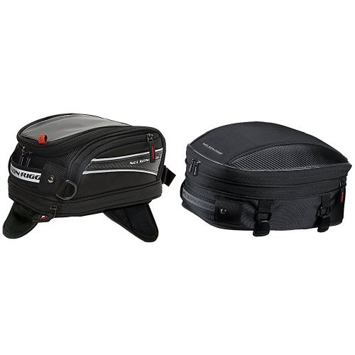 Nelson-Rigg CL-2014-MG Black Magnetic Mount Journey Mini Tank Bag and CL-1060-S Black Sport Tail/Seat Pack Bundle - Nelson Rigg Mini Sport Tail