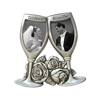 Malden Champagne Glasses Metal Wedding Frame, 2-Openings