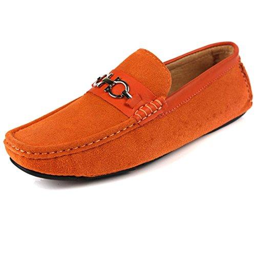 Santimon-mens Confortable En Cuir Véritable Conduite Chaussure Mocassins Mocassins Mocassins Doug Chaussures Orange