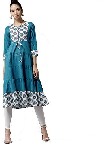 Women Blue & White Yoke Design Tiered A-Line Kurta By Dream Angel Fashion (Medium-36) ()