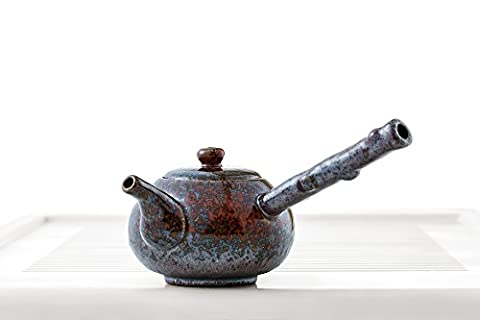 Guangxi Chinese Teapot with Wood Handle Mottled Glaze Teapots Clay Taiwanese Teaware (Maroon, - Glaze Wood Cabinets