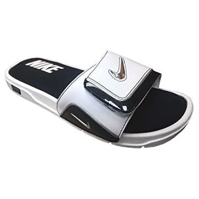 newest 1f4cc 88e90 NIKE Mens Comfort Slide 2 Sandal (13 D(M) US, White Metallic Silver Black)   Amazon.co.uk  Shoes   Bags