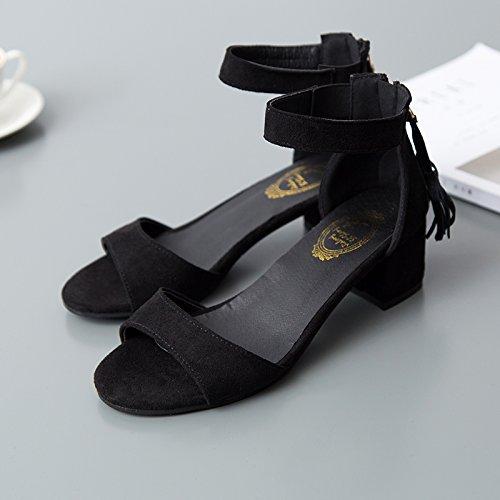 La Sandals High Heeled Eu35 EU36 Vídeo Palabra Hembra con Delgada Su De Female Mujer Estudiantes SHOESHAOGE Zapatos Gruesos Zapatos con Zapatos Cq8gCXwp