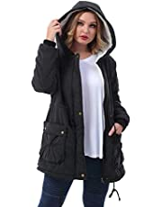 ZERDOCEAN Women's Plus Size Winter Warm Coats Hoodie Parkas Overcoat Faux Fur Lined Outwear Jackets.