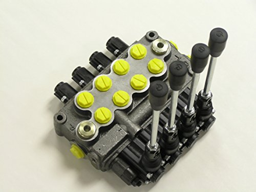Prince MB41BBBB5C1 Directional Control Valve, Monoblock, Cast Iron, 4 Spool, 4 Ways, 3 Positions, Single Acting Cylinder Spool, Spring Center, Straight Handle, 3500 psi, 8 gpm, In/Out: #8 SAE, Work #8 SAE ()