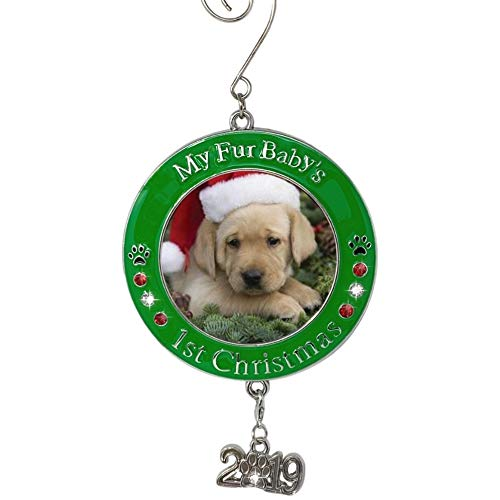 BANBERRY DESIGNS Pet's First Christmas 2019 - Photo Ornament with 2019 Charm and Engraved My Fur Baby's 1st Christmas (Christmas Puppy First)