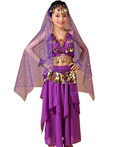 (Astage Kids Belly Dance Costume Dress Set Purple Small(Fits 7-8)