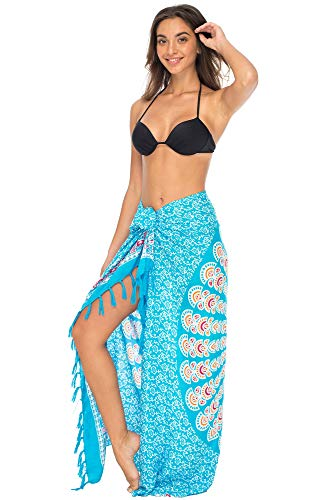 Sarong Wrap Cover Up - Back From Bali Womens Beach Swimsuit Bikini Cover Up Wrap and Clip Sarong Peacock Turquoise Fiesta