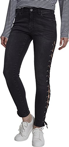 00709 Denim Schwarz Pants Up Skinny Lace Classic Donna Jeans black Urban Ladies Washed qRw6Hxp