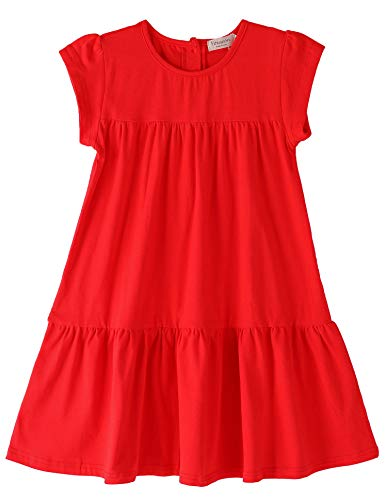 Youwon Toddler Girls Dress Short Sleeve Solid Color Coverup A-Line Tiered Swing Dress 2-6 7-16