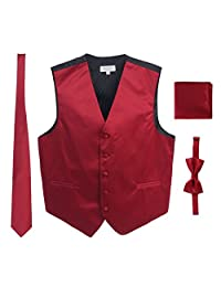 4 Piece Gioberti Mens Solid Formal Vest, Bowtie, Tie, Pocket Square Set