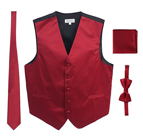 (Men's Formal 4pc Satin Vest Necktie Bowtie and Pocket Square, Burgundy, Large)