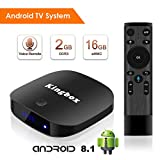Kingbox Android TV Box 8.1 with 2.4G Voice Remote, K2 S Android Box with 2GB RAM 16GB ROM Quad-Core Support 4K (60Hz) Full HD/H.265 / 3D / WiFi Smart TV Box(Android TV System)