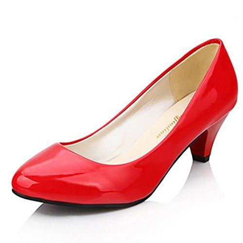 Maritchi Womens Low Platform Heels Comfort Pumps 1.9 In Heel Simple (8(M) US, Red) (Red Heel Low)