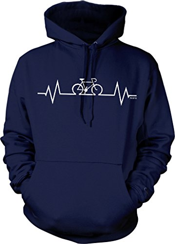 Sweatshirt Mens Cycling - Cycling Heartbeat, Love Biking Hooded Sweatshirt, NOFO Clothing Co. L Navy