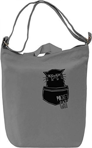 Pocket Cat Borsa Giornaliera Canvas Canvas Day Bag| 100% Premium Cotton Canvas| DTG Printing|