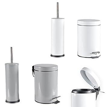 WC Garnitur SET Mülleimer WC Bürste Treteimer Toilettenbürste Bürste  Badezimmer Set (Grau)